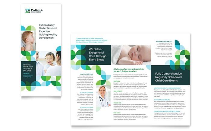 pediatric doctor tri fold brochure template design md0442301