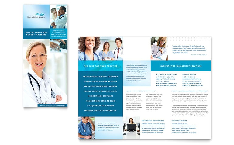 medical billing coding tri fold brochure templates md0232301d