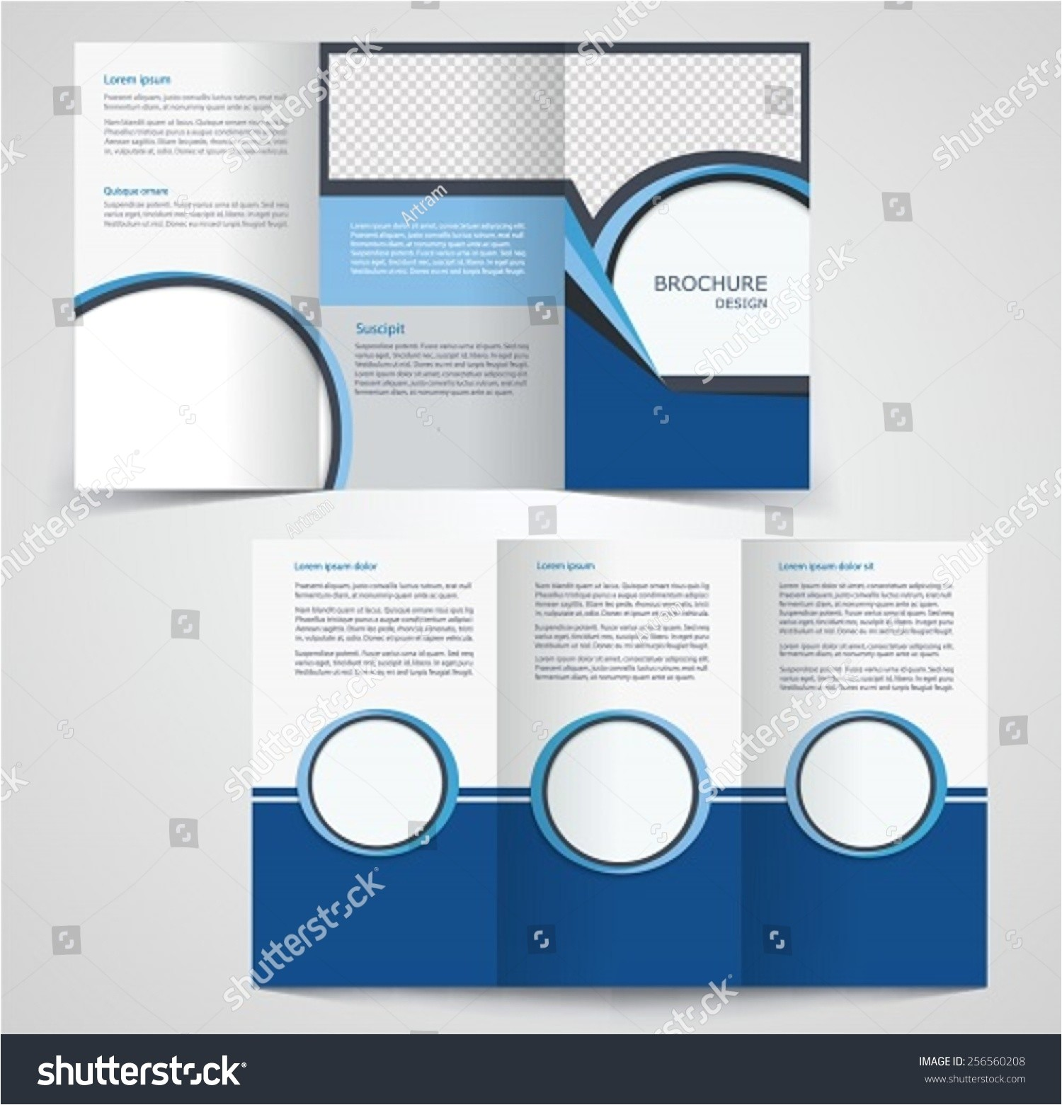 stock vector tri fold business brochure template two sided template design mock up cover in blue colors