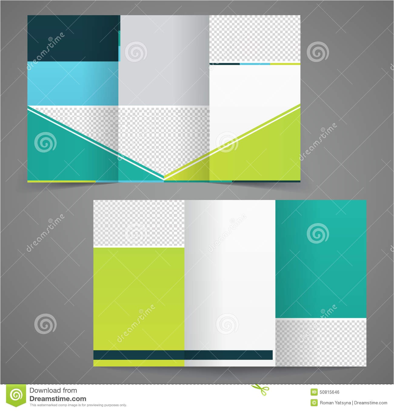 stock illustration tri fold business brochure template two sided template design mock up cover green yellow colors image50815646