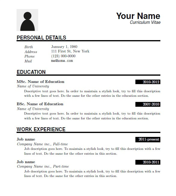 Download A Resume Template 15 Latex Resume Templates Pdf Doc Free Premium
