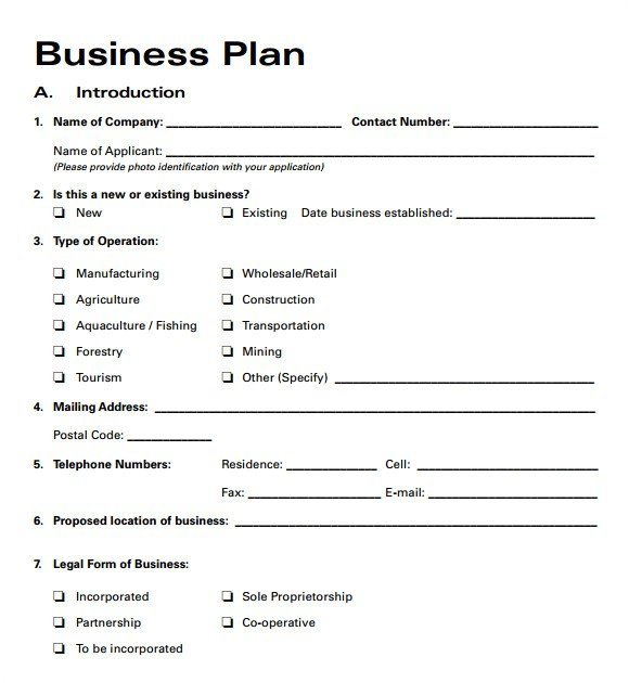 free business plan template