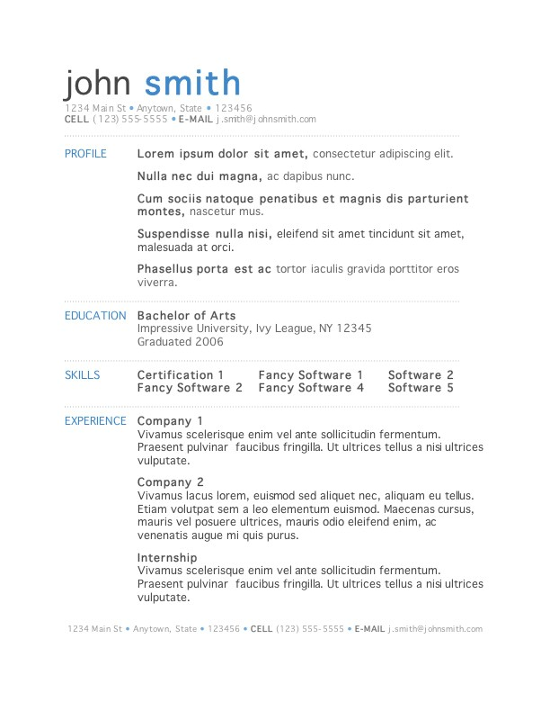 Download Free Resume Templates for Word 50 Free Microsoft Word Resume Templates for Download