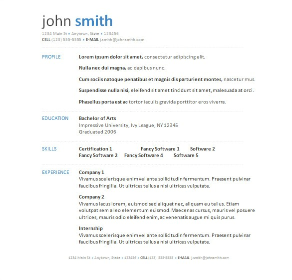 microsoft resume template
