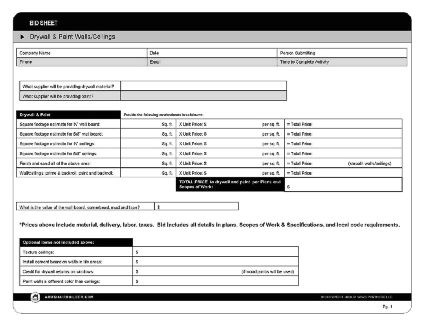Drywall Bid Proposal Template Sample Bid Sheet