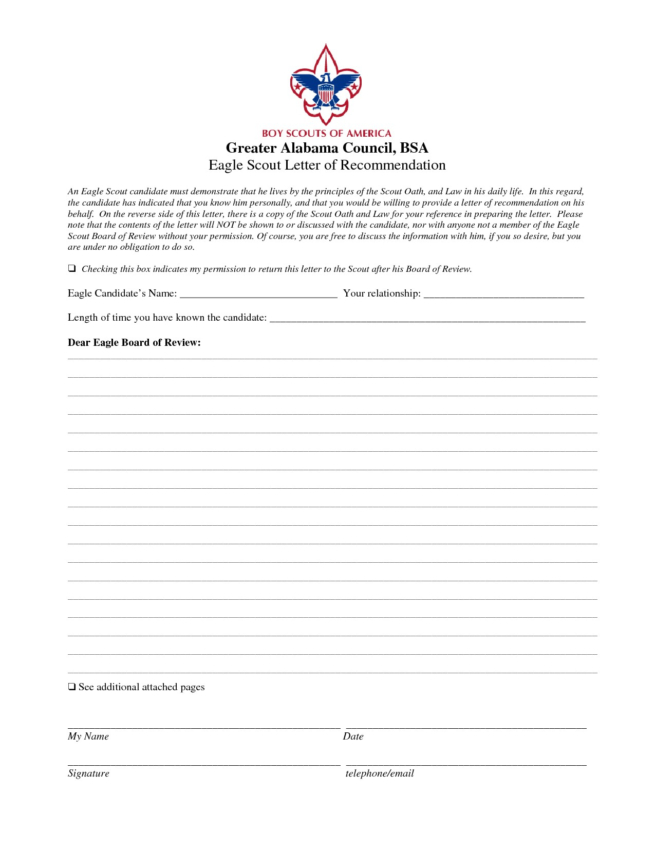 eagle scout recommendation letter template