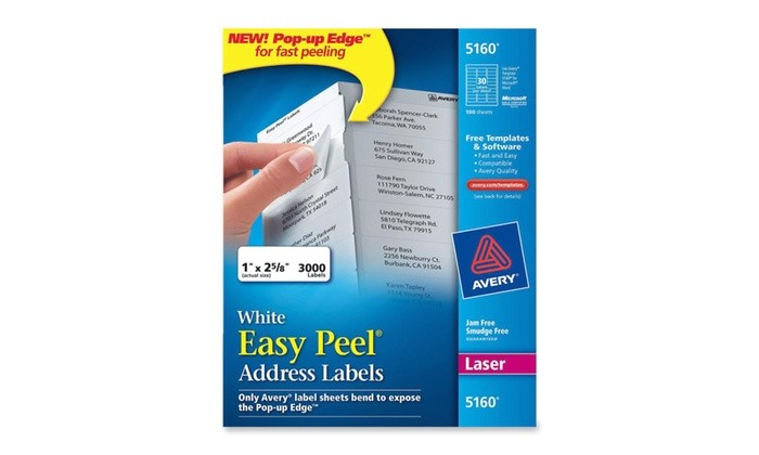 Easy Peel Labels Avery Template 5160 Avery 5160 White Easy Peel Address Labels for Laser