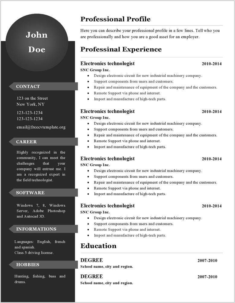 12802 free editable teacher resume template