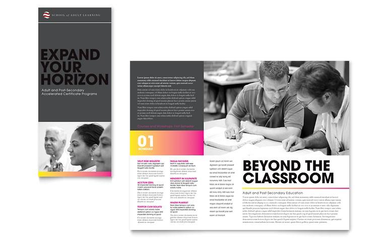 adult education business school tri fold brochure templates et0092301d