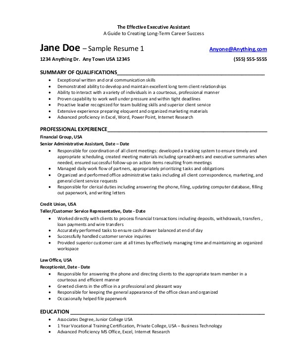 Effective Resume Samples 8 Sample Executive assistant Resumes Sample Templates