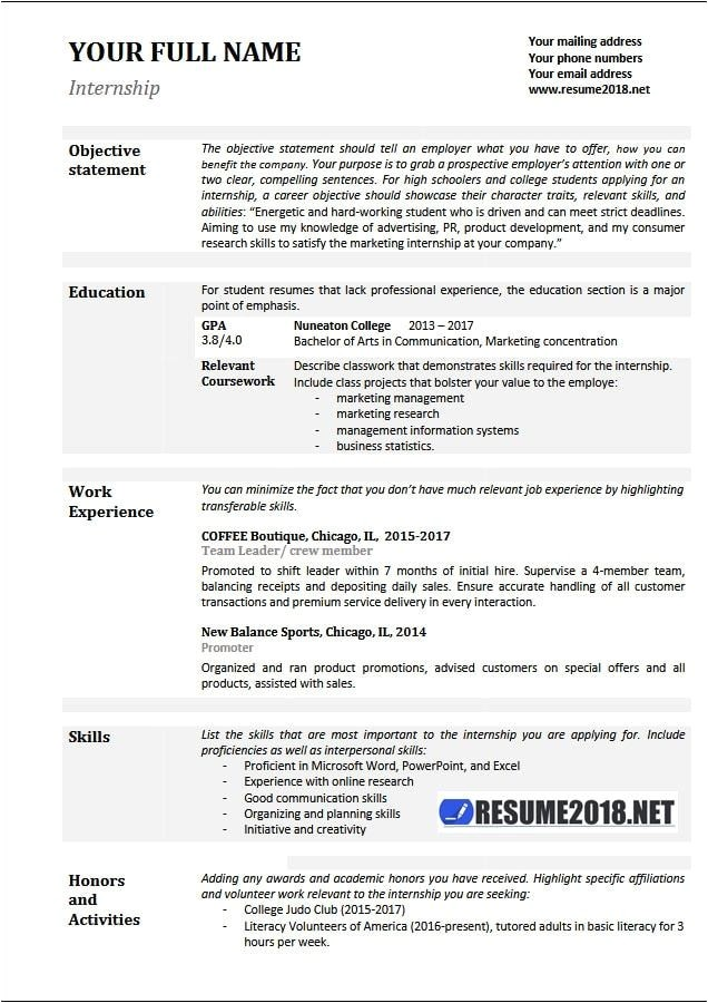 basic resume samples 2018