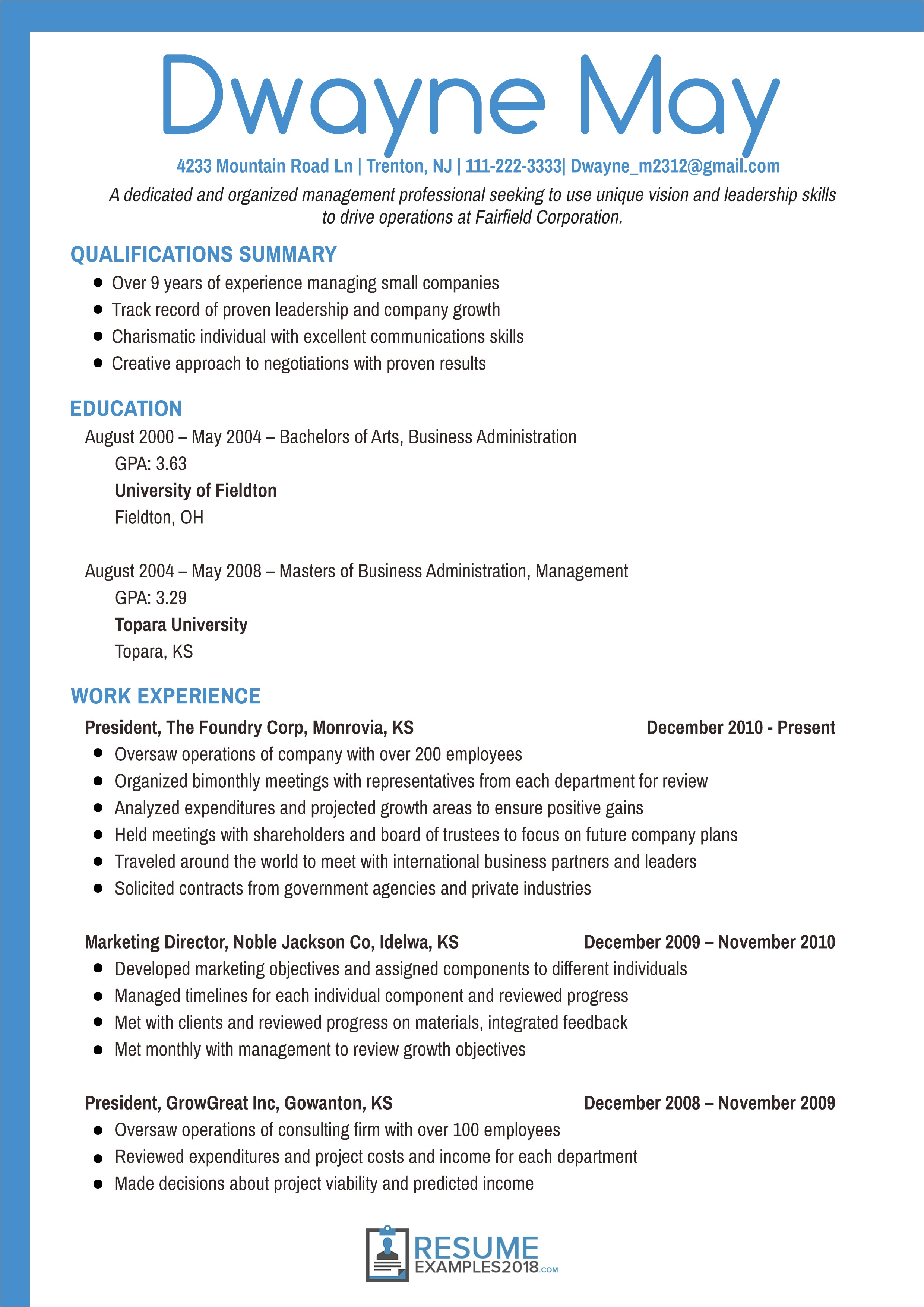 executive resume examples 2018