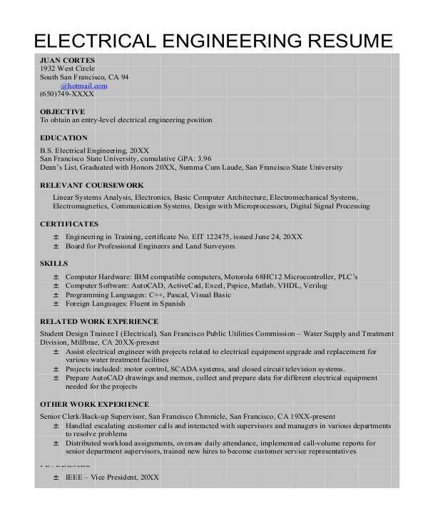 Electrical Engineer Resume Templates 8 Sample Engineering Resumes Sample Templates