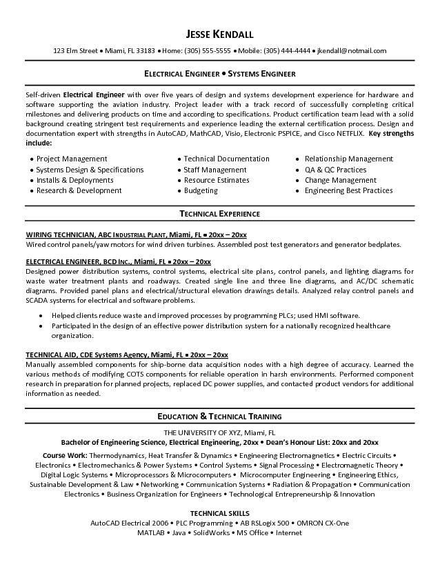 electrical engineer resume sample