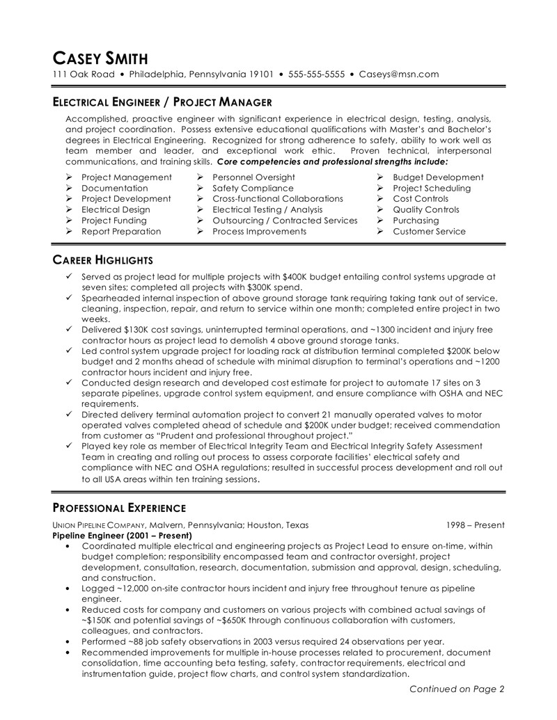 Electrical Engineer Resume Templates Perfect Electrical Engineer Resume Sample 2016 Resume