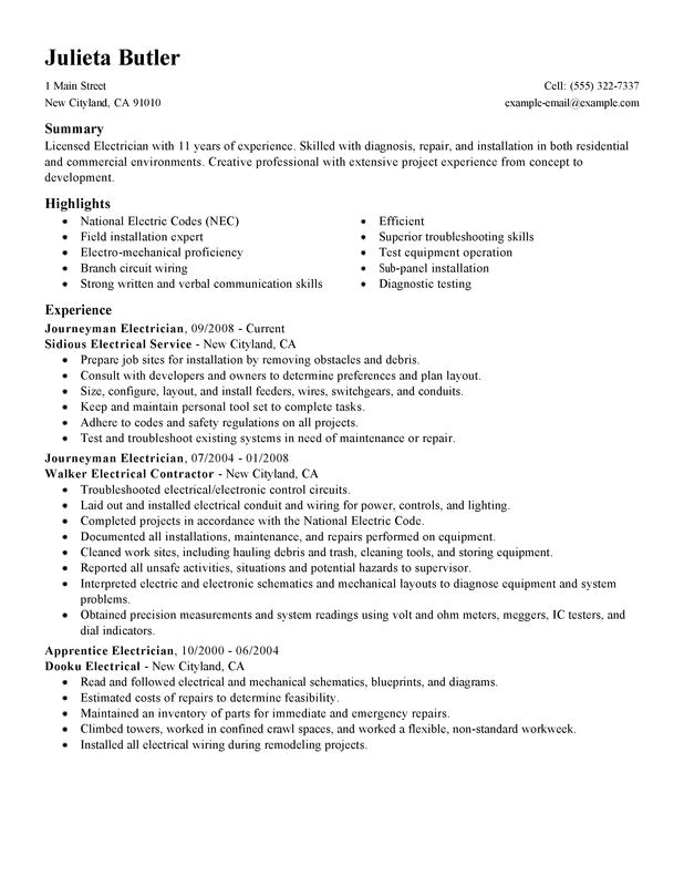 Electrical Resume Template Unforgettable Journeymen Electricians Resume Examples to