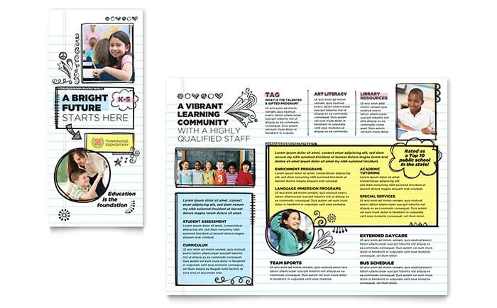 elementary school brochure template design et0150101