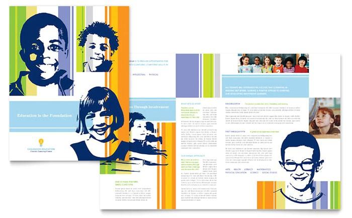 learning center elementary school brochure template design et0060101