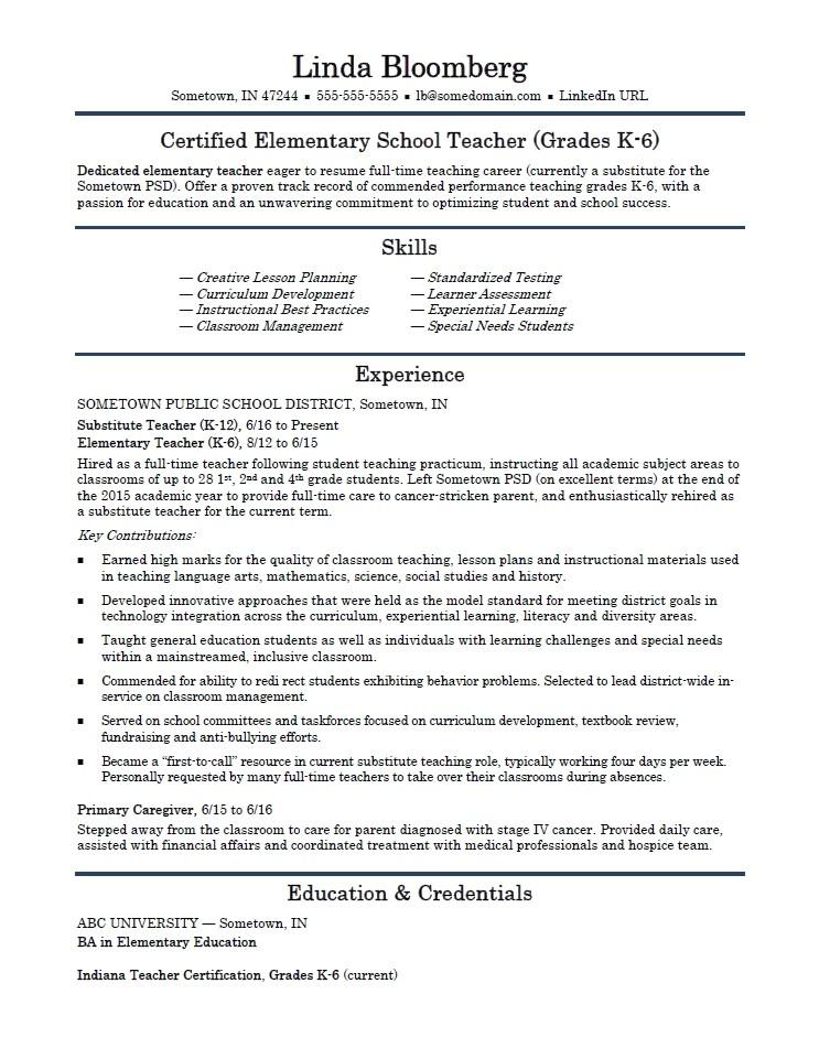 sample resume elementary teacher