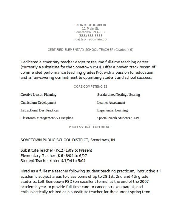 Elementary Teacher Resume Template Elementary Teacher Resume Template 7 Free Word Pdf