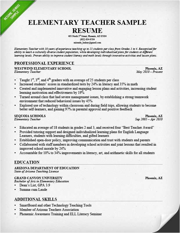 Elementary Teacher Resume Template Teacher Resume Samples Writing Guide Resume Genius