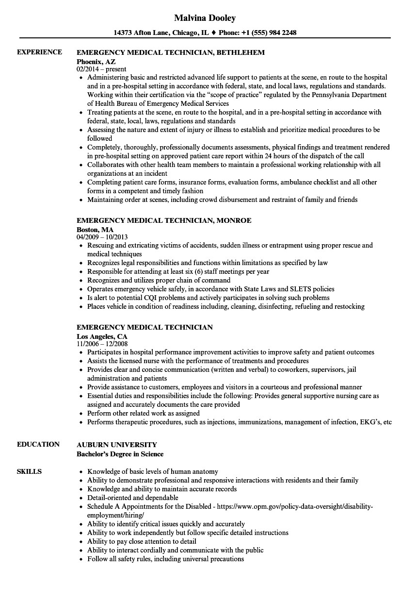 emergency medical technician resume skills