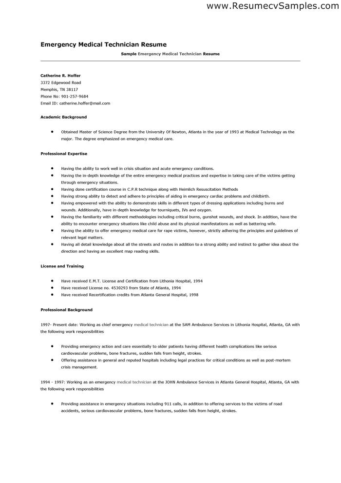 emt resume sample