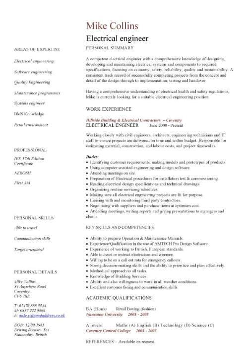 Engineering Resume Templates Word Engineering Cv Template Engineer Manufacturing Resume