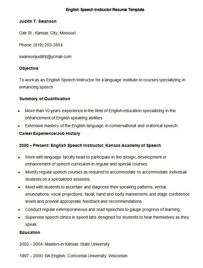 teacher resume template