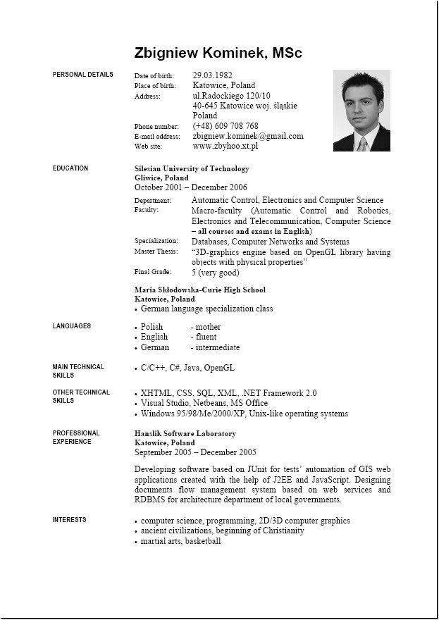 English Resume Template 9 English Resume format Download Penn Working Papers