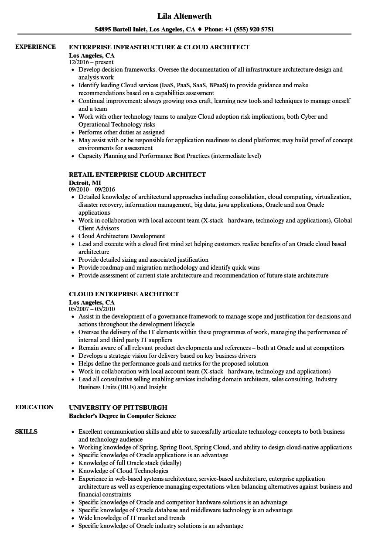 cloud enterprise architect resume sample