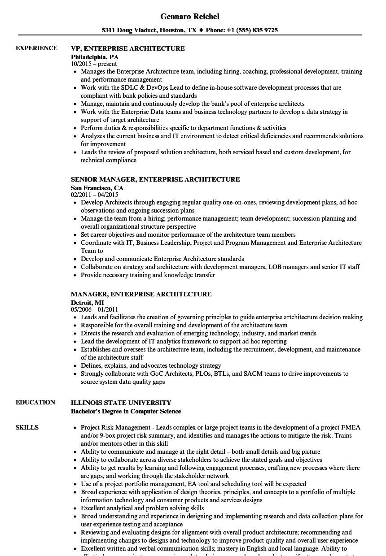 Enterprise Architect Resume Sample Enterprise Architecture Resume Samples Velvet Jobs