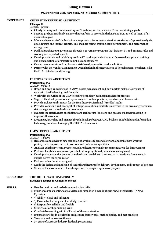 it enterprise architect resume sample