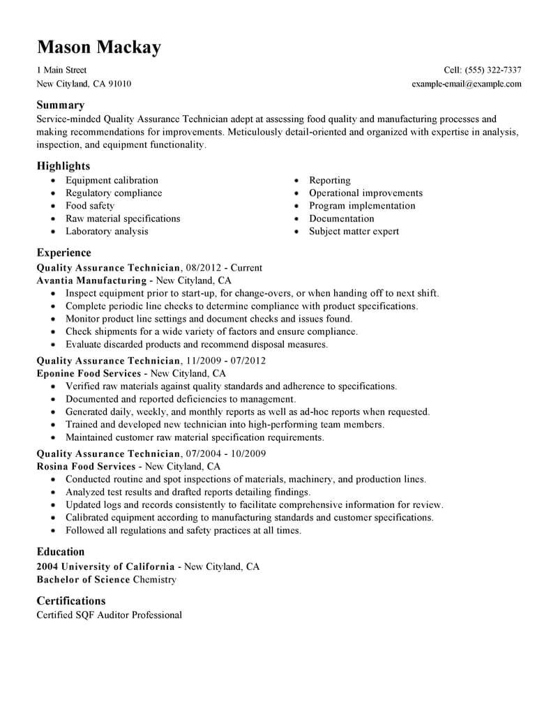 Entry Level Quality assurance Resume Samples Best Quality assurance Resume Example Livecareer