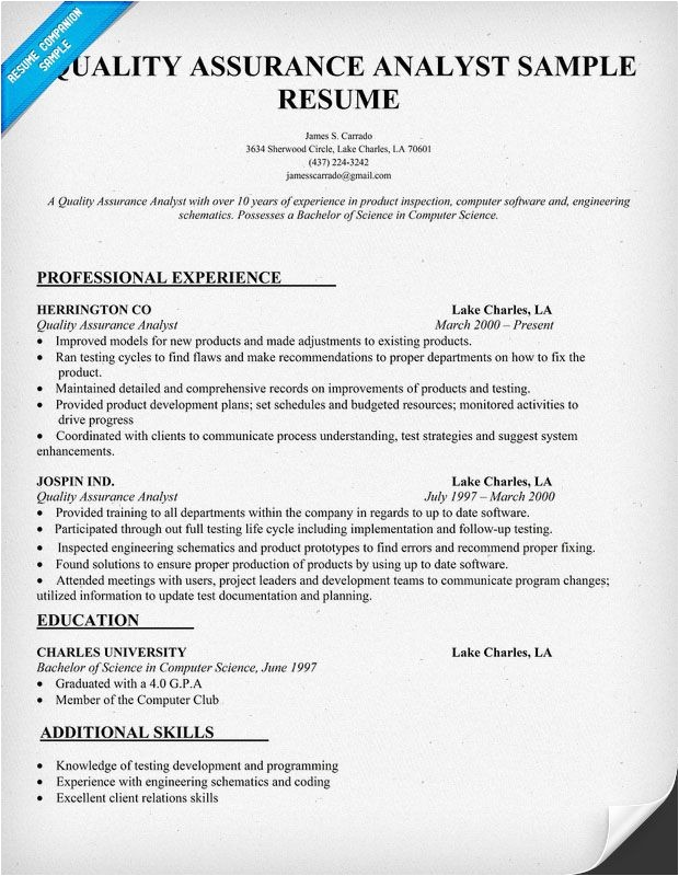 Entry Level Quality assurance Resume Samples Quality assurance Analyst Resume Sample Resumecompanion