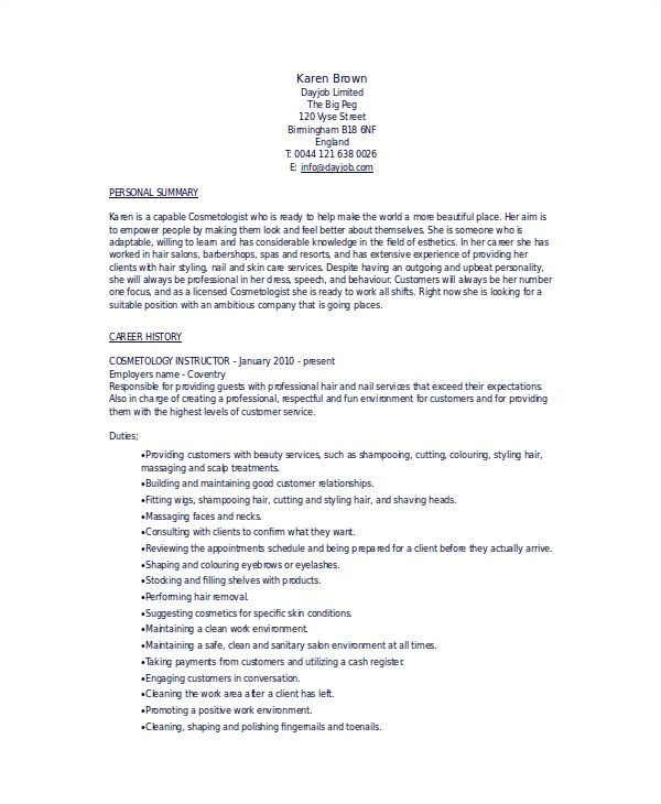 Esthetician Resume Template Download Cosmetology Resumes Template Template Ideas