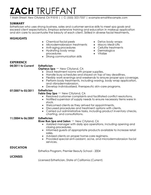 Esthetician Resume Template Download Esthetician Resume Examples Created by Pros