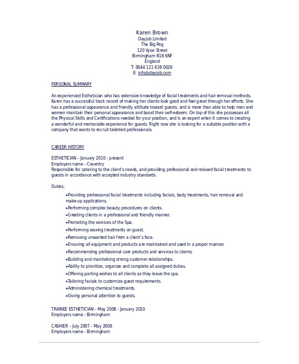 Esthetician Resume Template Download Esthetician Resume Template 5 Free Word Documents