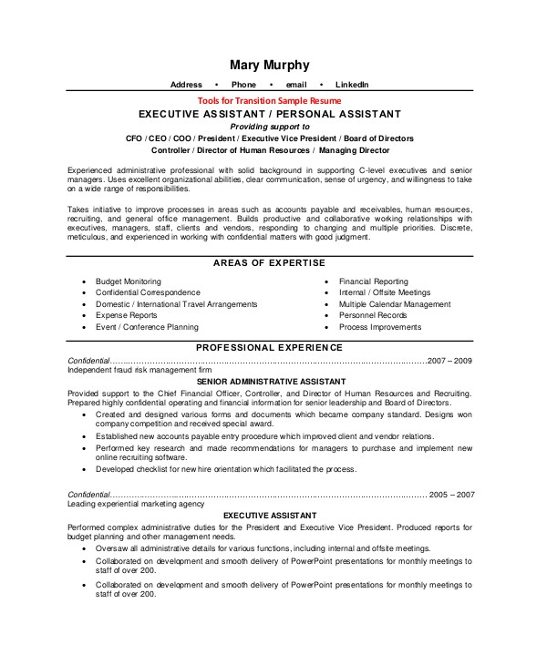 Executive assistant Resume Samples 2016 Executive assistant Job Description Resume Sample
