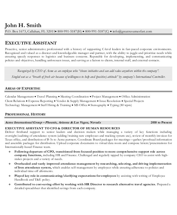 Executive assistant Resume Template 10 Executive Administrative assistant Resume Templates