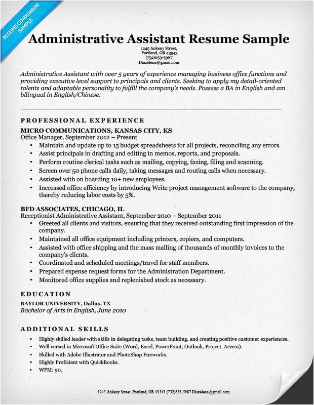 Executive assistant Resume Template Administrative assistant Resume Example Write Yours today