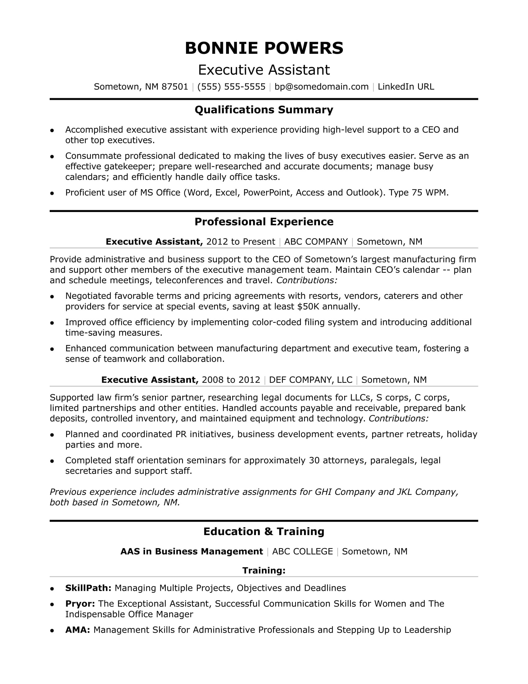 Executive assistant Resume Template Executive Administrative assistant Resume Sample Monster Com