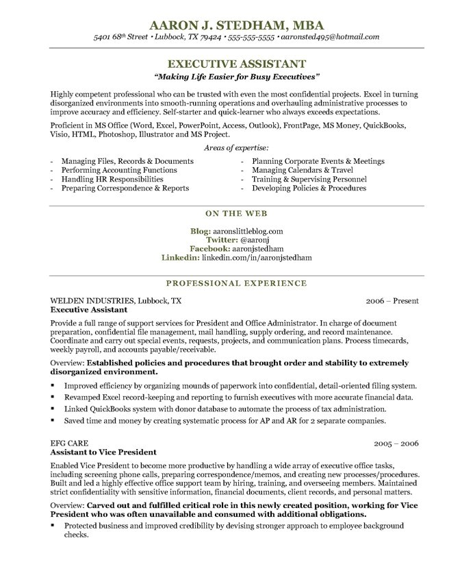 Executive assistant Resume Template Executive assistant Free Resume Samples Blue Sky Resumes
