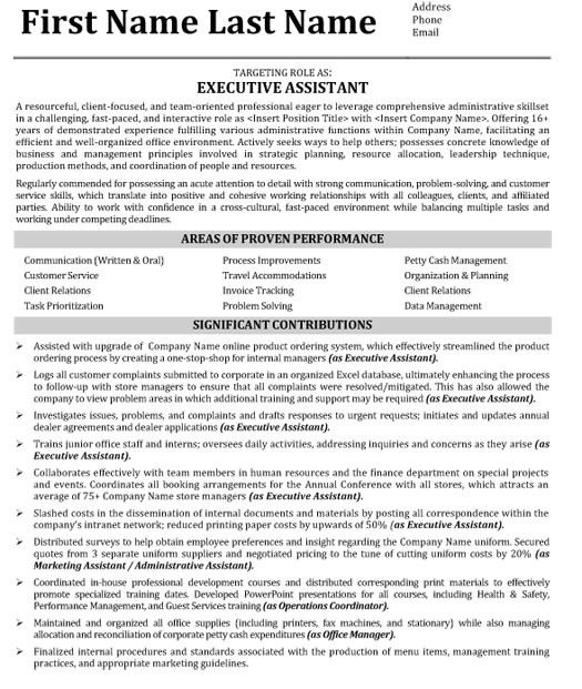 Executive assistant Resume Template Targeted Resume Resume Badak