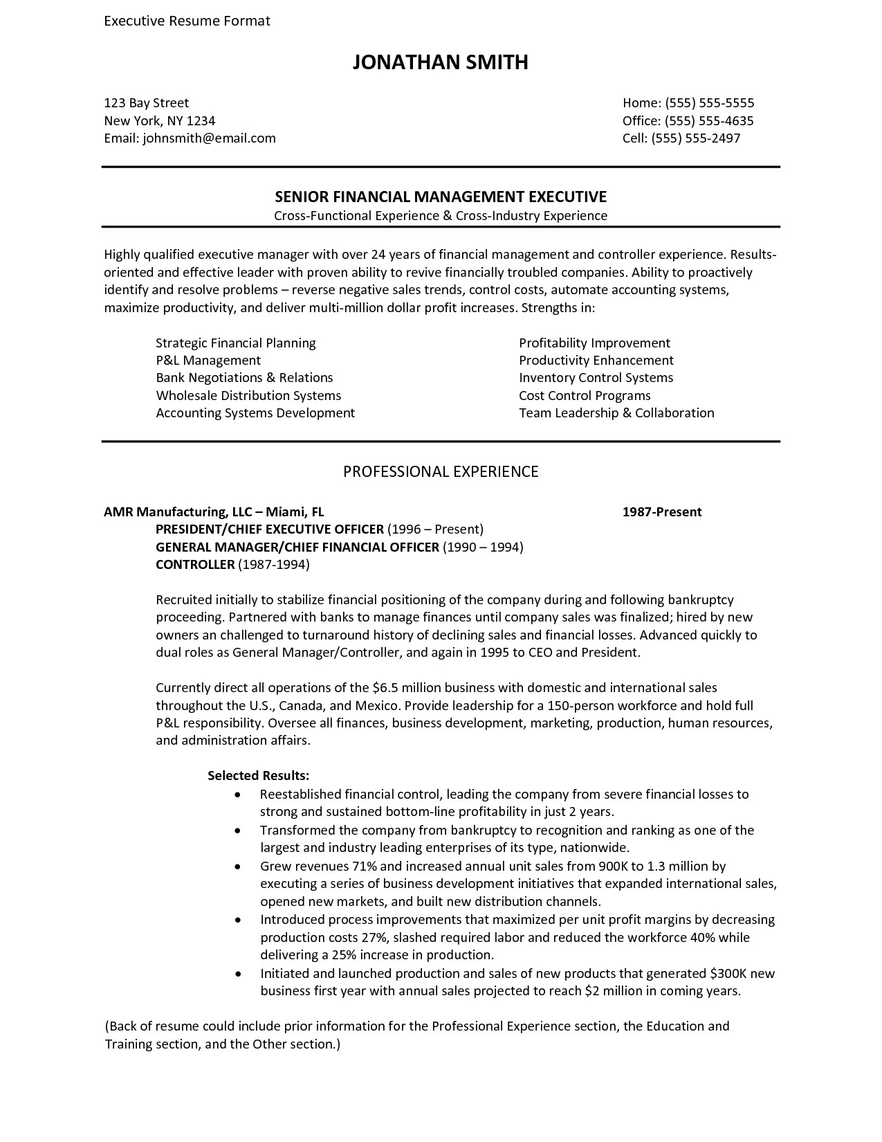 Executive Style Resume Template Resume Template Executive Sample Resume Cover Letter format