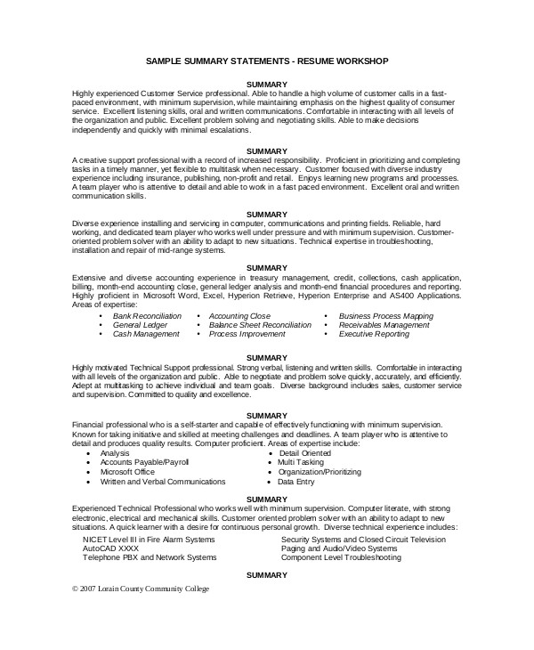 Executive Summary Resume Samples 8 Sample Executive Resumes Sample Templates