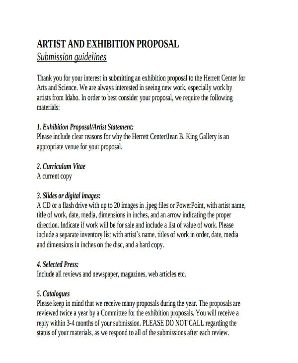 Exhibition Proposal Template 51 Proposal Templates Examples Samples