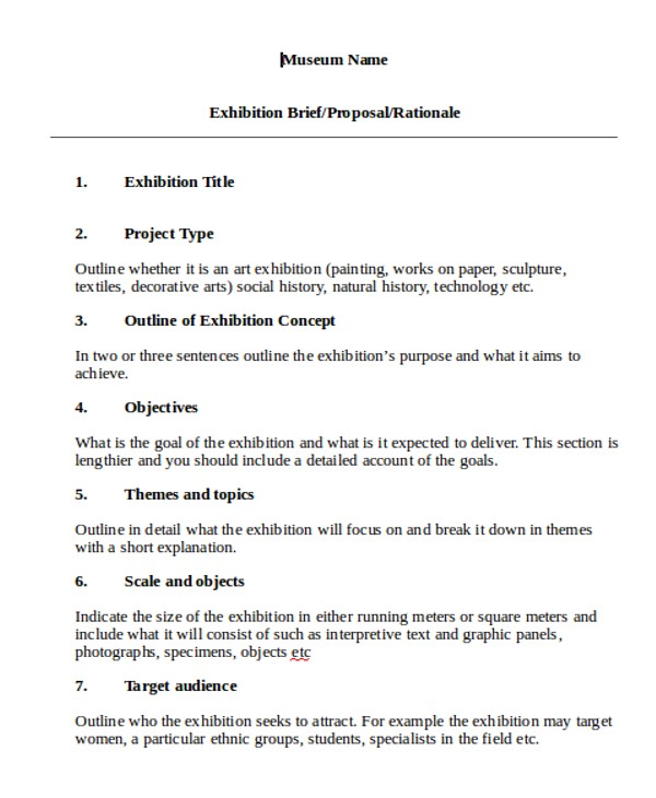 Exhibition Proposal Template Exhibition Proposal Templates 8 Free Word Pdf format