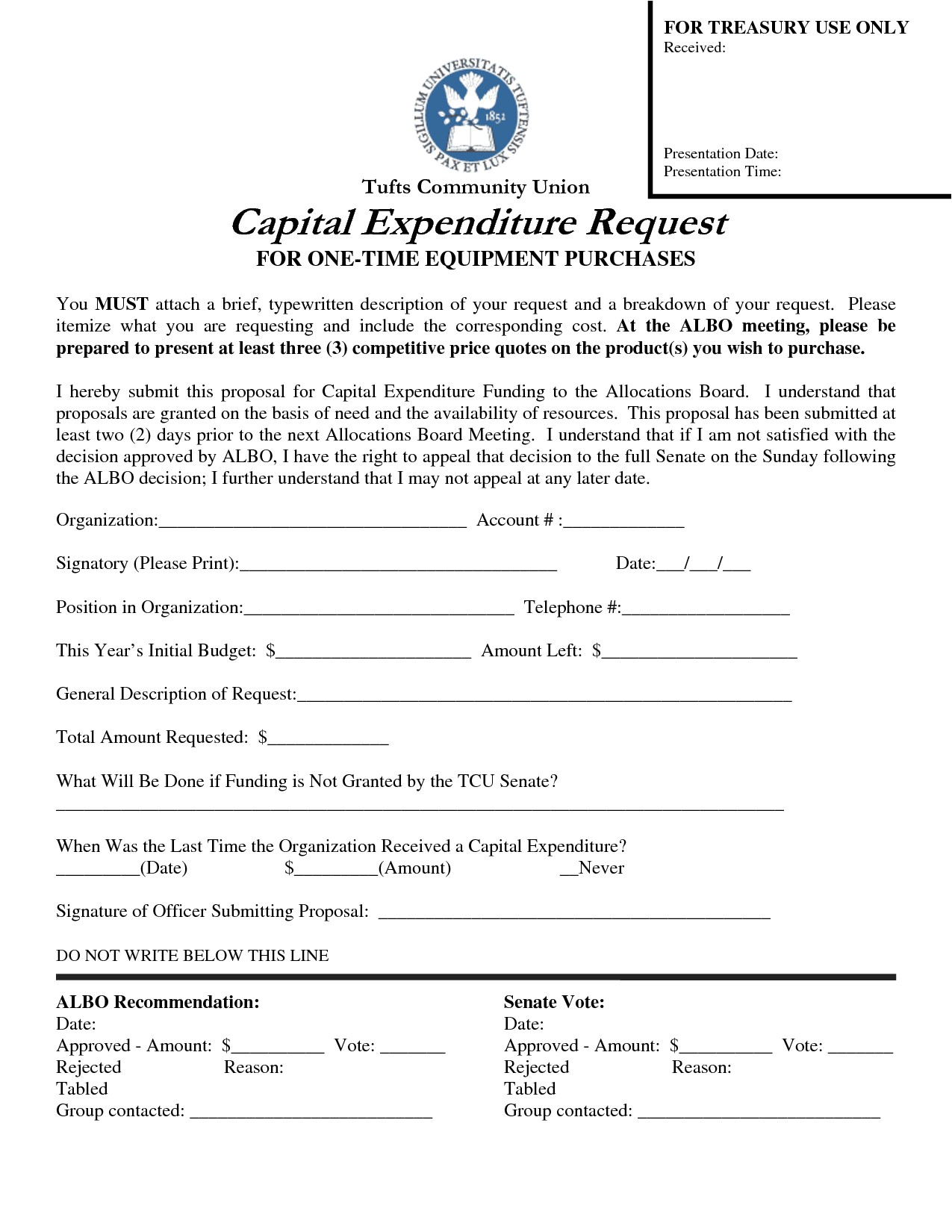 post capital expenditure justification template 327626
