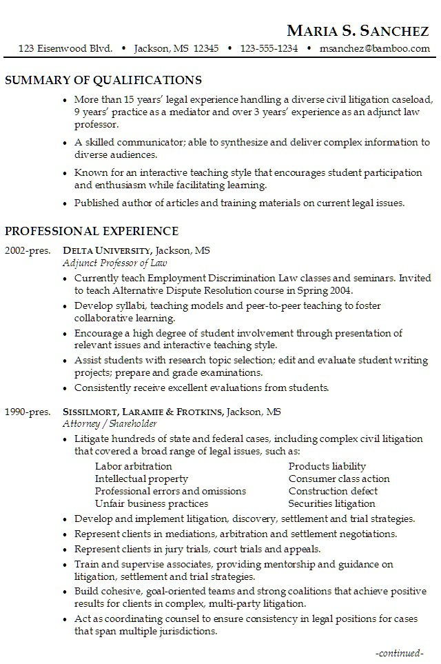 attorney specializing in civil litigation mediation and teaching